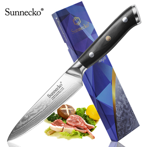 "Image 1 - New SUNNECKO 5"" inch Utility Knife Razor Sharp Blade Japanese VG10 Steel Kitchen Knives Damascus G10 Handle Chef Slicing Cutter"
