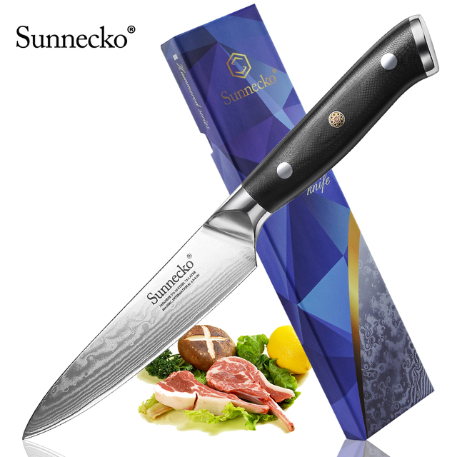 "New SUNNECKO 5"" inch Utility Knife Razor Sharp Blade Japanese VG10 Steel Kitchen Knives Damascus G10 Handle Chef Slicing Cutter"