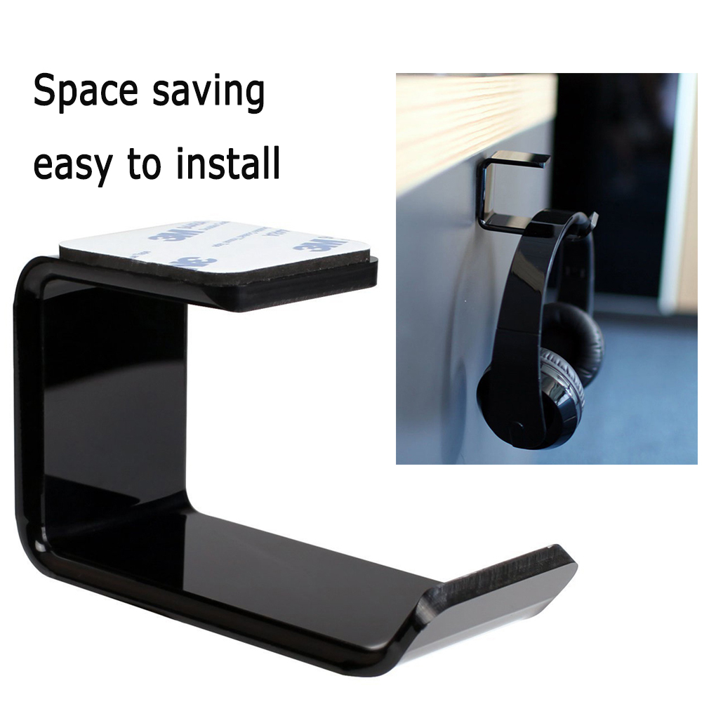 Sticker Acrylic Headphone Bracket Wall Mounted Headset Holder   Hanger Under Desk Hook Earphone Sticky Display Stand