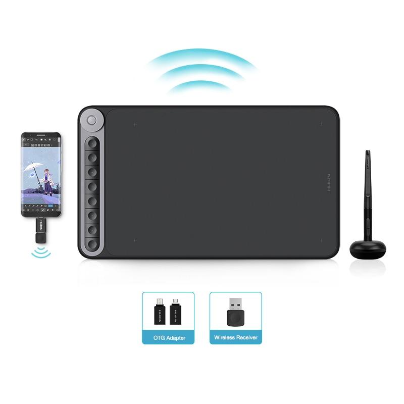 Huion q620m gráfico tablet sem fio 8192 níveis de desenho pressão digital caneta tablet com dial 8 teclas imprensa suporte android