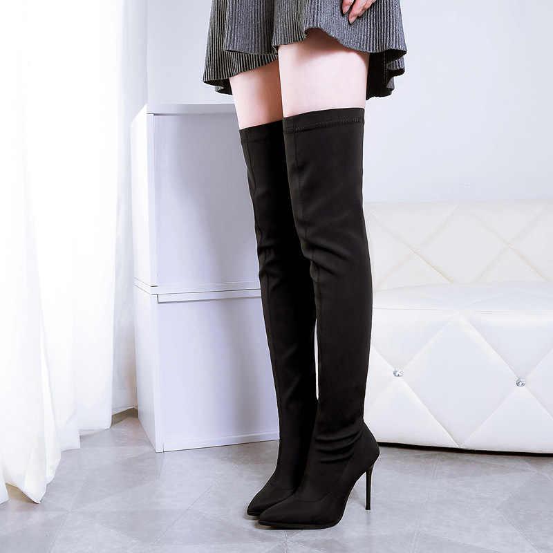 Mode hiver nouvelles bottes hautes bottes minces sexy sur le genou bottes hautes femmes bottes de neige femme