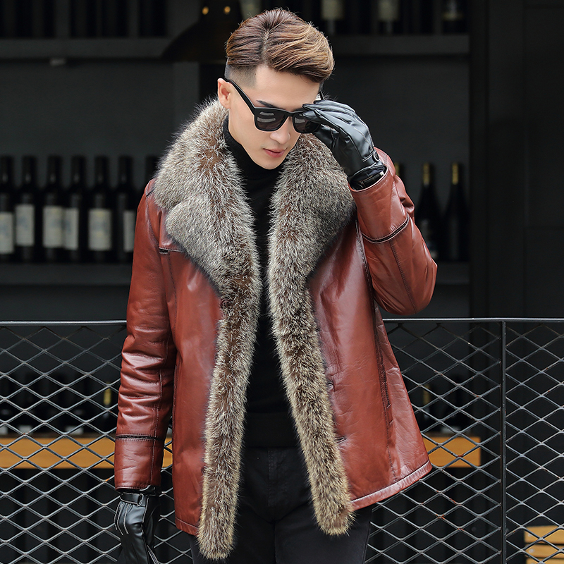 Fur One Leather Men's Leather Jacket Big Child Fur Collar Business Men's Clothing