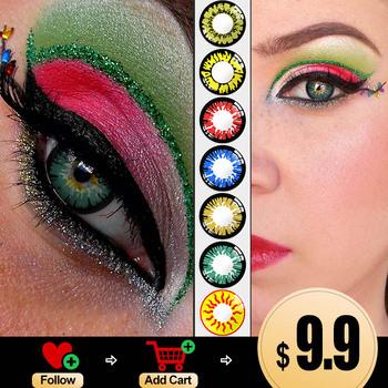 Piękno kolorowe soczewki kontaktowe do oczu miękkie komfort wielokolorowe soczewki żywe i świeże szkła okularowe niebieskie soczewki czerwone tanie i dobre opinie FreshGo CN (pochodzenie) 14 5 Dwa Kawałki 0 06-0 15mm PHEMA Piękne Uczeń Colored lenses CE FDA Color contact lenses