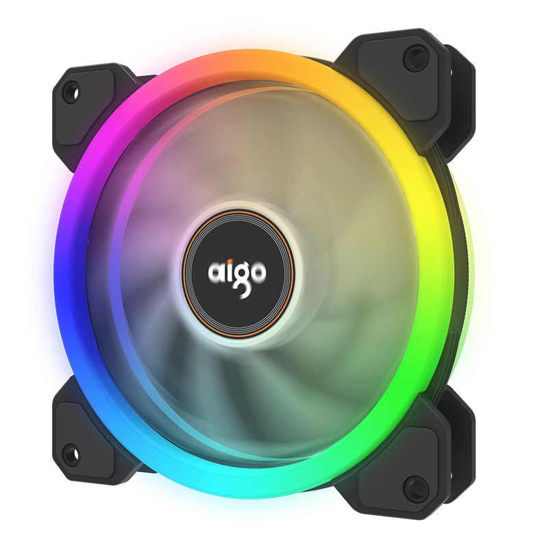 Aigo 2019 nouveau DR12 coque d'ordinateur PC ventilateur de refroidissement RGB ajuster LED 120mm silencieux + IR à distance nouveau ordinateur refroidisseur refroidissement RGB boîtier ventilateur