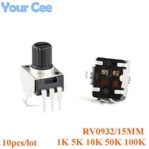 10pcs Rv09 Vertical 15mm Shaft 1k 5k 10k 50k 100k 0932 Adjustable Resistor 3pin Seal Potentiometer 102 502 103 503 104(China)