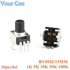Rv09 вертикальный 15 мм вал 1k 5k 10k 50k 100k 0932 k 102 регулируемый резистор 3-контактный затвор потенциометра 502 103 503 104