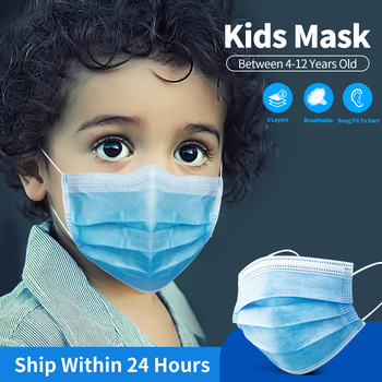 Disposable Kids Mask For 4-12 Years Child Mouth Mask 3 Layer Protection Safe Breathable Black Pink Colorful Children Face Mask