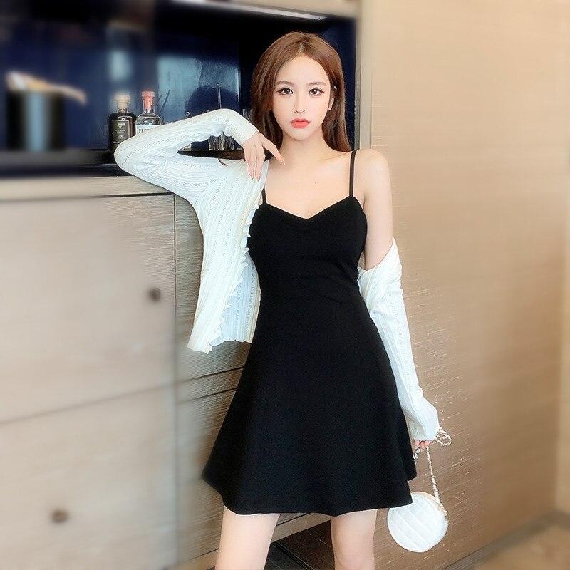 Маленькая трапециевидная юбка Хепберн на бретелях, соблазнительное черное платье для весны и осени