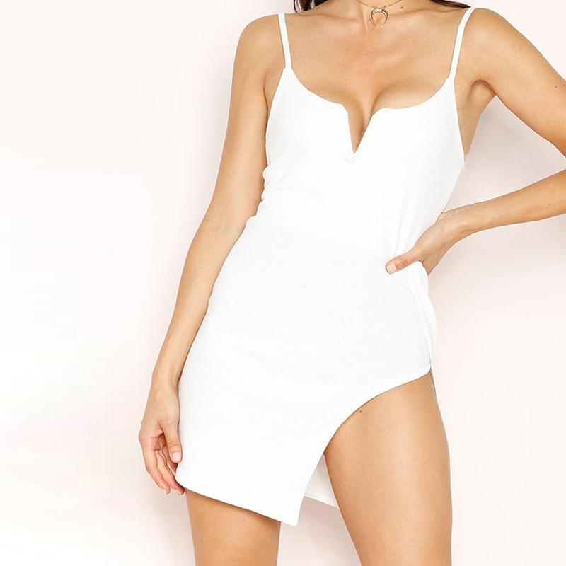 Summer women's sexy dress 2020 summer new women's straps deep V-neck fit sexy package hip dress female 90183 3