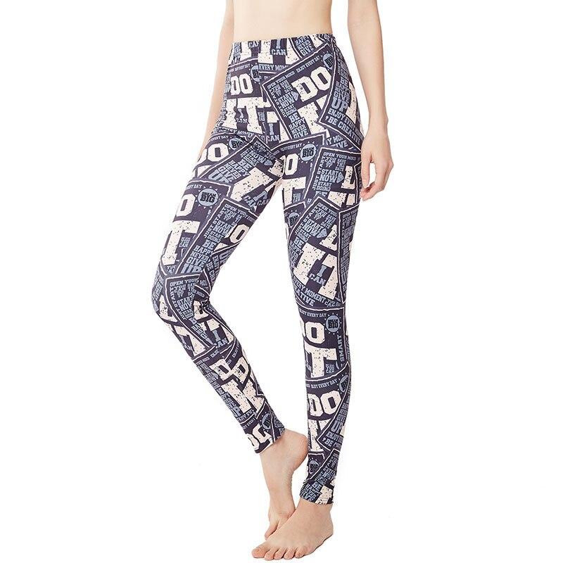 9063 Europe And America Lettered Do It Print Yoga Pants Women's Leggings Sports Leggings