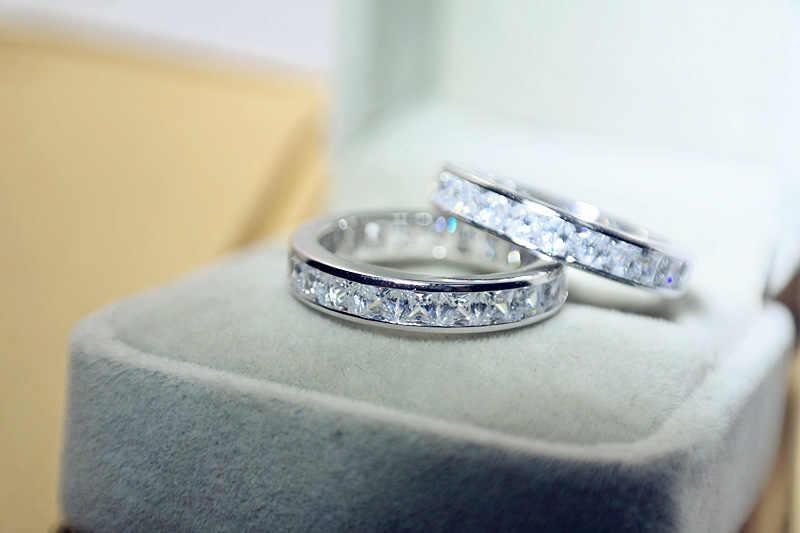Solid Sliver แท้ 925 VS2 แหวนเพชรสำหรับผู้หญิง Anillos Bizuteria พลอยหมั้นเงิน 925 กล่องเครื่องประดับแหวนผู้หญิง
