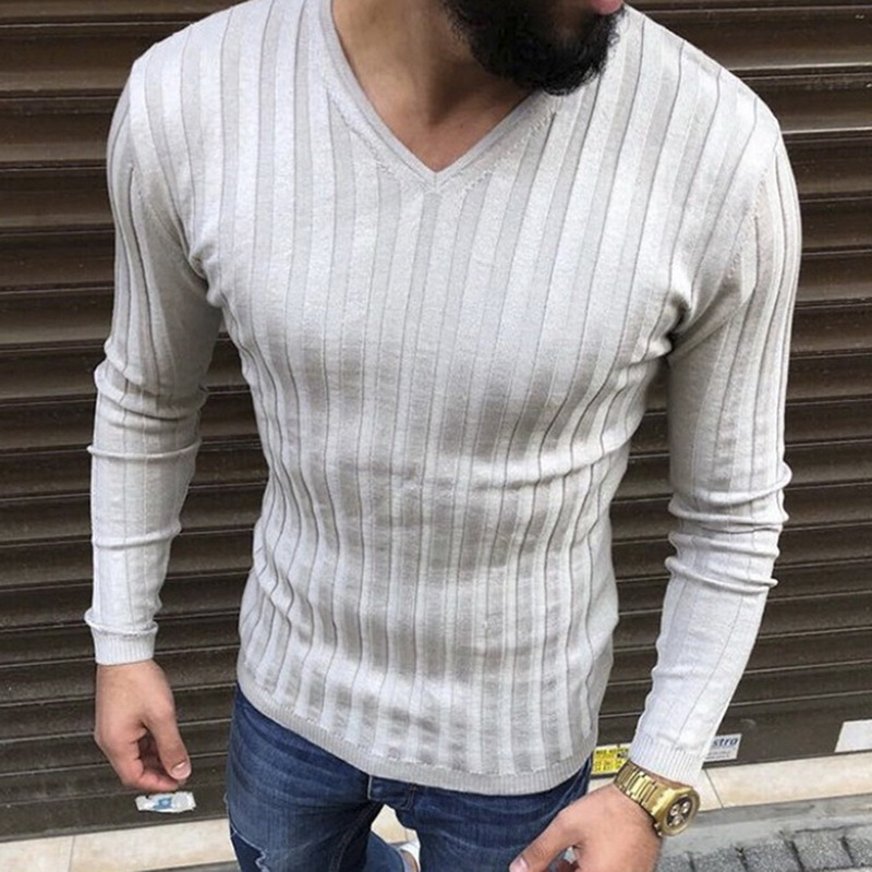Autumn Long Sleeve Knitted Pullover Brand Slim Fit Basic Sweater Camisa Masculina Casual Sueter Hombre Stripe Knitwear