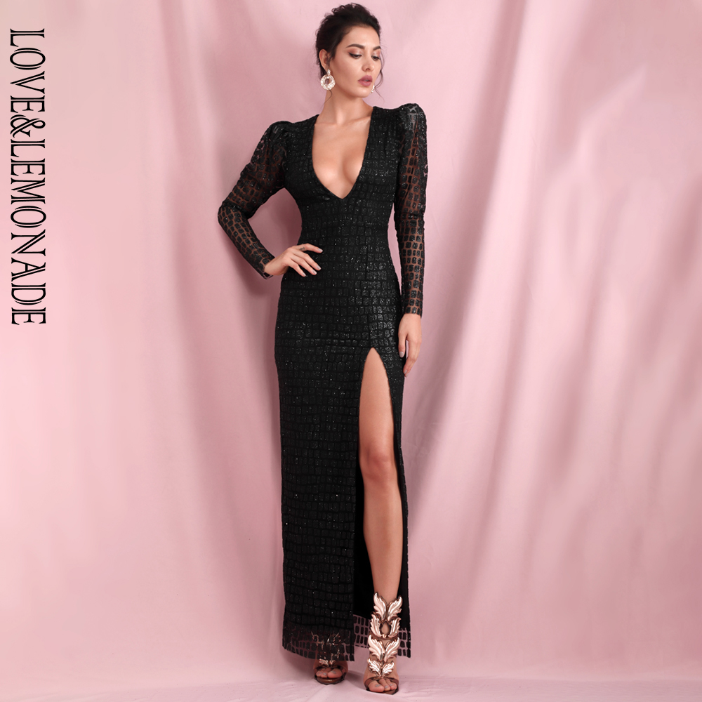 LOVE & LEMONADE Sexy Black V-Neck Bubble Long Sleeve Whit Split Glitter Glue Material Party Maxi Dress LM82256