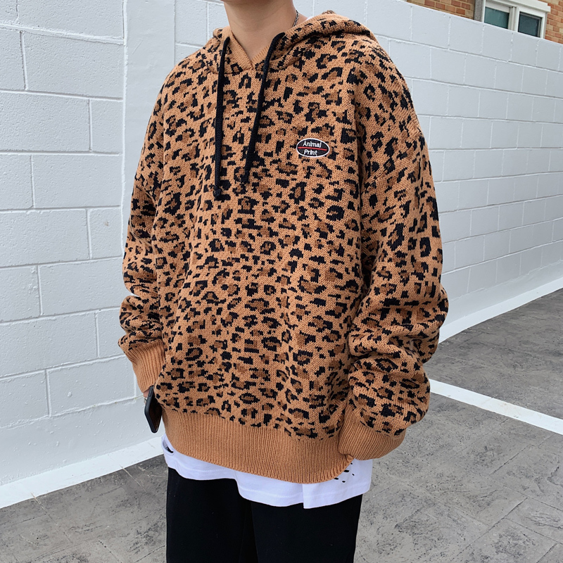 2019 UYUK Winter Thickened Style Korean Leopard Print Original Loose Fashion Hooded Men's Sweater Hombre Homme