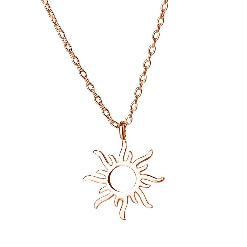 FENGLI Sun Necklace for Women Fashion Geometric Hollow Round Chain Pendants Statement Birthday Jewelry Gifts
