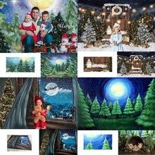 Рождественская Снежинка Большая Луна Дерево фон венок Дети фотография