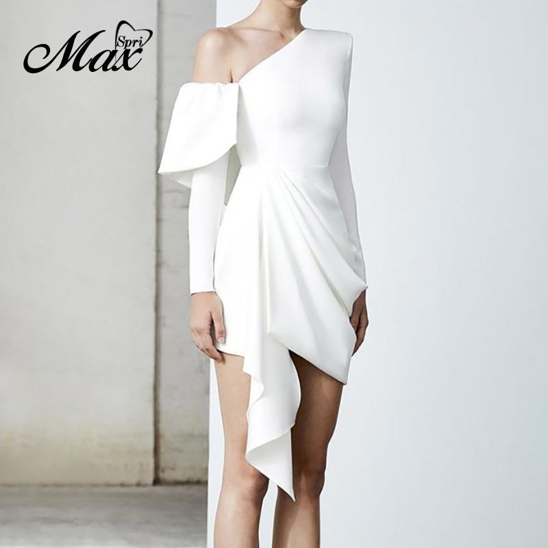 Max Spri Trendy Full Sleeves Asymmetrical Draped White Dresses 2019 New Collection Office Lady Club Vestidos