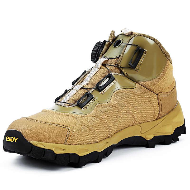 Мужская повседневная Рабочая обувь; сезон весна; водонепроницаемые парусиновые армейские ботильоны с автоматической пряжкой; тактическая группировка сухопутных сил; мужские ботинки