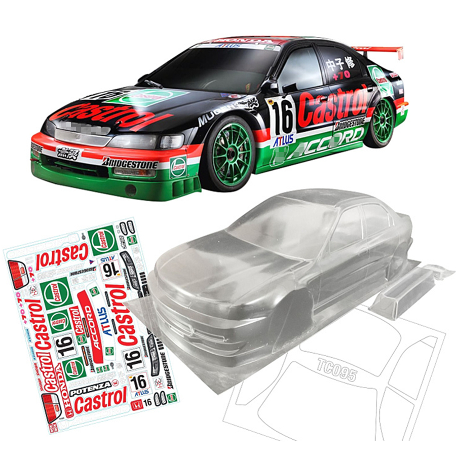 Team C Honda Accord Toys Model Clear Body Shell With Stickers For 1/10 Scale Rc Drift Car Flat Sport On-Road Rally Electric Cars