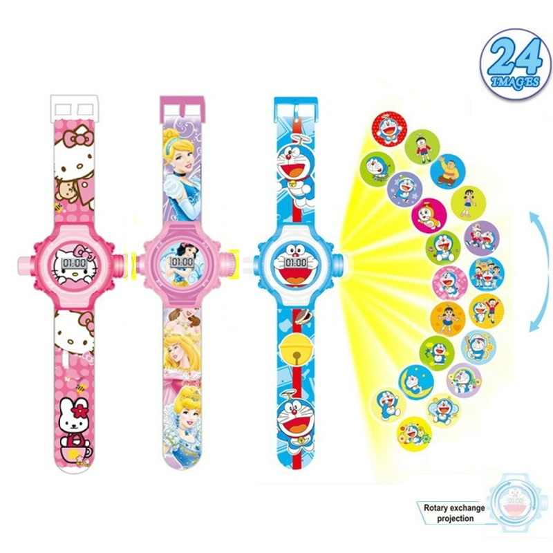 Auto Prinses Elsa Spiderman Kids Horloges Projectie Cartoon Patroon Digitale Kinderen Horloge Voor Jongens Meisjes Display Klok Relogio