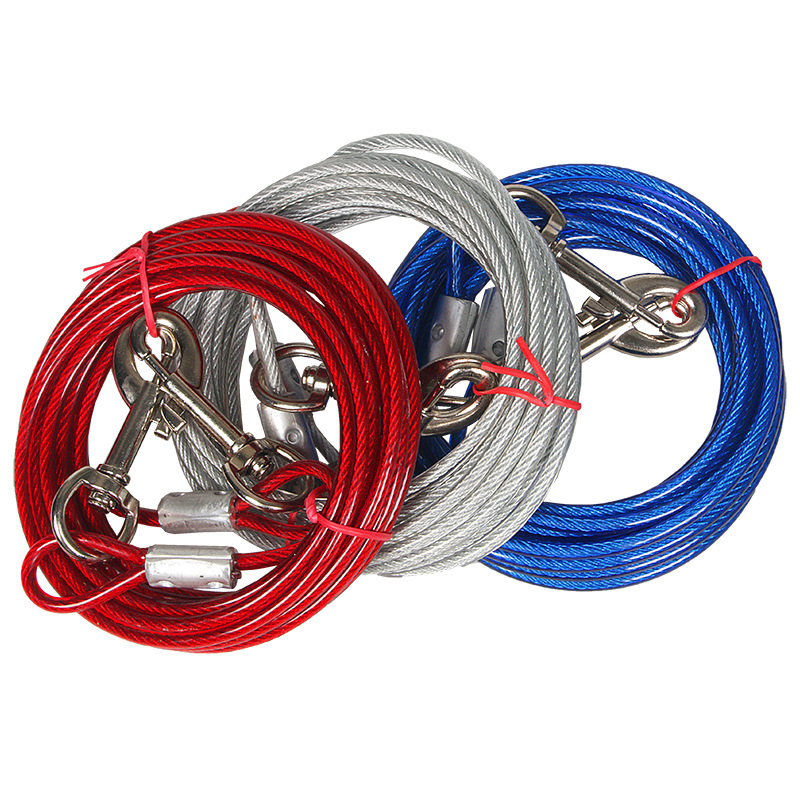 Pet Steel Wire Lanyard 10 M Double-headed Rope Dog Outdoor Lengthen Training Traction Chain Dog Leash Suppository Anti-Bite Lany