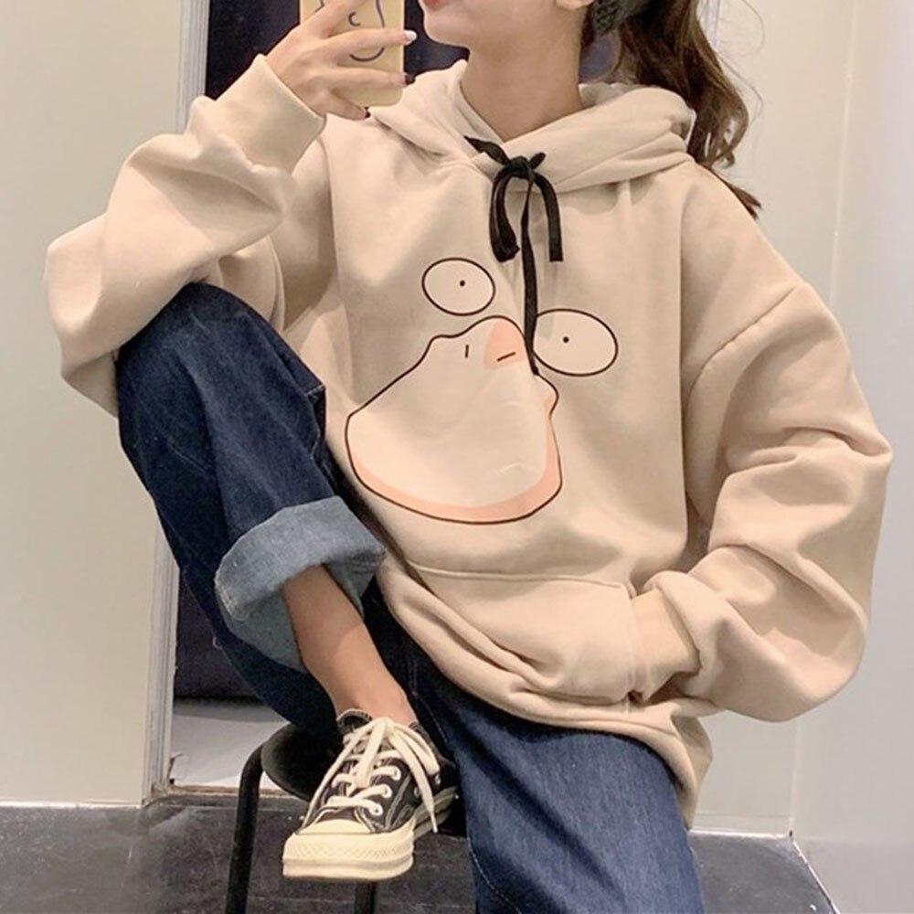 Cute Harajuku Oversized Anime Hoodies 2020 Autumn Winter Hoodie Preppy Style Kawaii Cartoon Print Thick Loose Sweatshirt Hooded