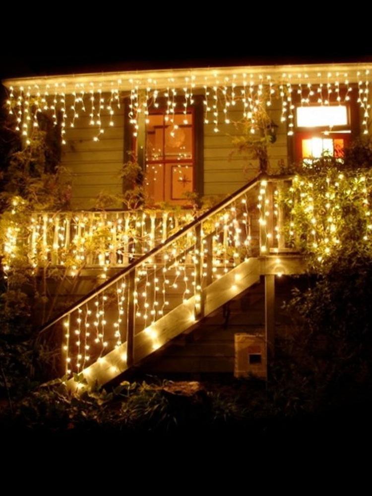 5M Водонепроницаемый наружный Рождественский светильник Droop 0,4-0,6 м Светодиодные Шторы гирлянда сосульки светильник s Garden Mall карнизы декорат...