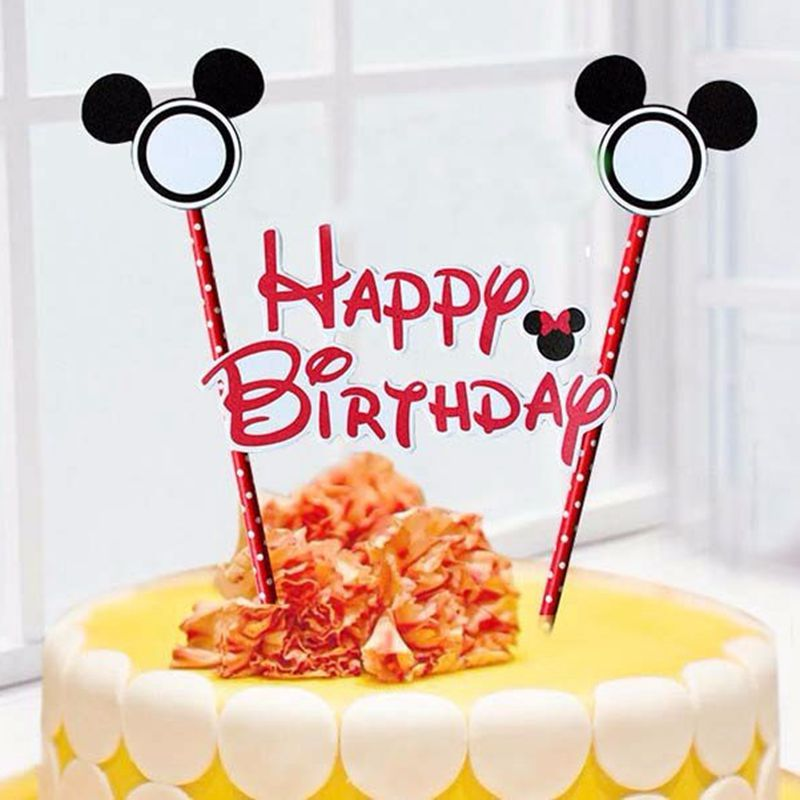 Phenomenal 1Set Mickey Mouse Cupcake Cake Topper Cake Flags With Paper Straw Funny Birthday Cards Online Elaedamsfinfo