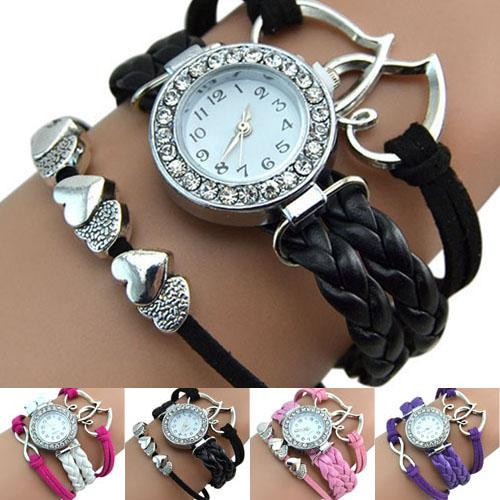Vintage Women Casual Handmade Braided Watches Double Heart Braid Faux Leather Bracelet Quartz WristWatch Lady Birthday Gift
