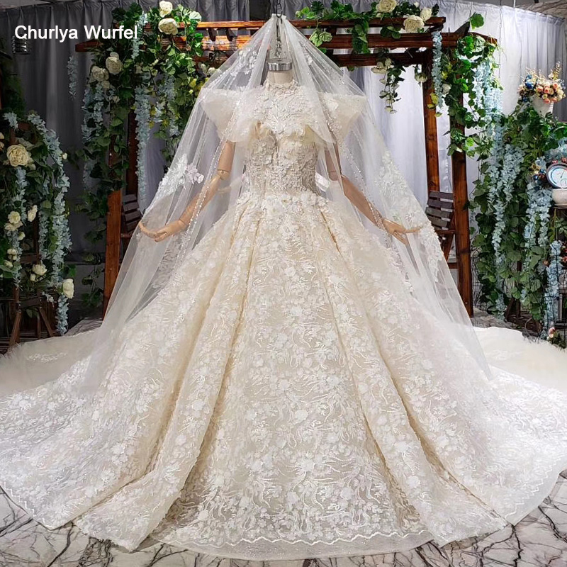HTL816 Princess Wedding Dresses With Veil Beading Flowers Flare Sleeve High Neck Wedding Ball Gowns Robe Fille D'honneur Mariage
