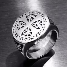 Рыцари Тамплиер удача крест крестоносца мужское кольцо уплотнение панк Рок Хип-хоп титановое мужское кольцо из нержавеющей стали обручальное кольцо байкер DAR253
