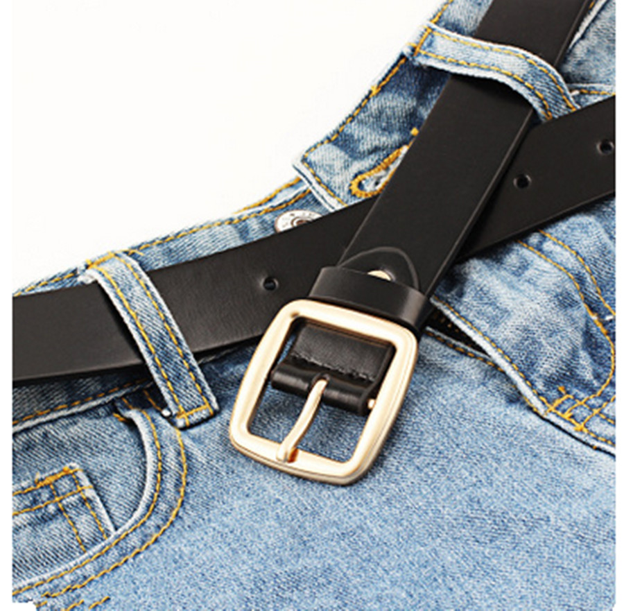 Ladies Retro Belt Simple Vintage Students Square Buckle Fashion Casual Trend Wild Decorative Belt Metal Pin Buckle Belt Black