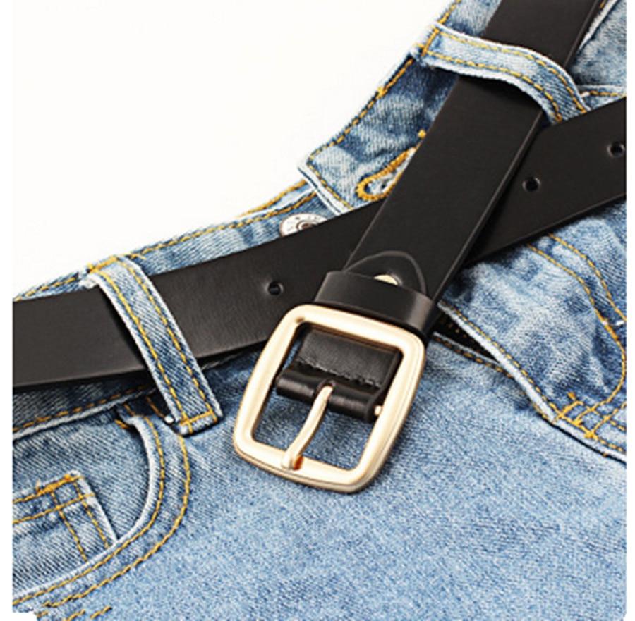 Ladies Retro Belt Simple Vintage Students Square Buckle Fashion Casual Trend Wild Decorative Belt Metal Pin Buckle Belt Black