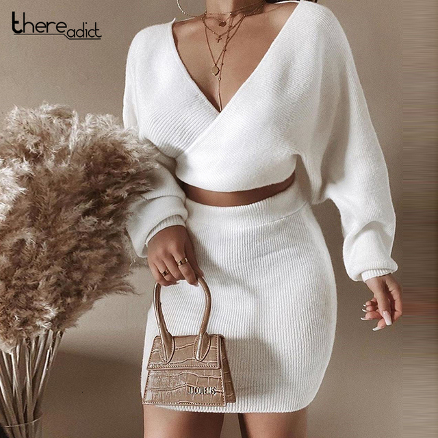 Thereadict White Knitted Suit Two Piece Set Crop Top And Skirt Autumn Winter Sweater 2 Piece Set Women V Neck Female Outfits