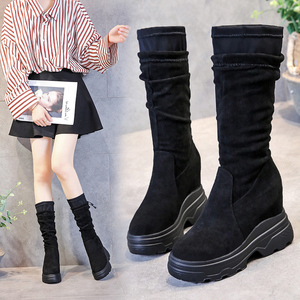 Image 2 - SWYIVY Chaussure Femme Mid Calf Wedge Shoes Woman 2019 Slim Womens Winter Shoes Slip On Platform Boots Ladies Flock Woman Boots