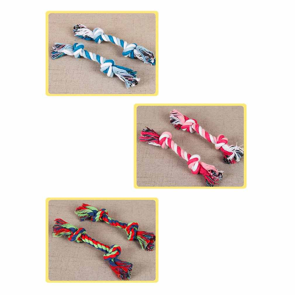 Pet Toy Cotton Rope odporny na zgryz szczeniak molowy sznurek do wiązania zabawka dla małych psów trening interaktywny węzeł zabawka