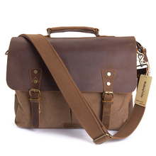 цены Messenger Bag for Vintage Genuine Leather 14-15.6 Inch Laptop Canvas Briefcase Shoulder Bags Satchel Handbags for Tablet
