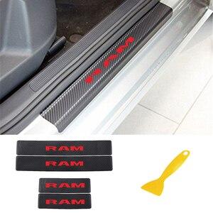 Image 2 - Auto Instaplijsten Plaat Koolstofvezel Scuff Sticker Instaplijsten Stickers Voor Dodge Ram Decoratie Anti Kras Scuff Auto Accessoires