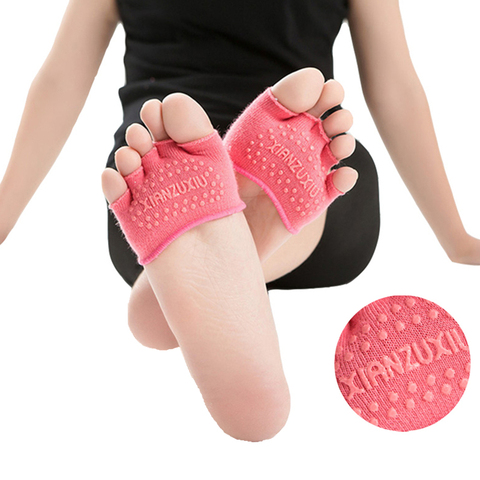 Meias de Yoga Dedo do pé Meias de Algodão Anti-derrapante para Pilates Lote Feminino Meia Cinco Sola Invisível Ginásio Fitness 3 Par –