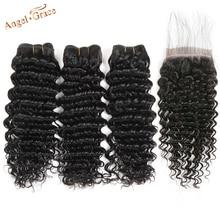 AngelGrace שיער ברזילאי עמוק גל חבילות עם שקוף/HD תחרה סגירת 3 חבילות עם סגירת רמי שיער טבעי עם סגירה