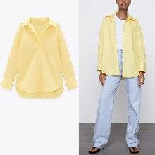 2021 ZA весна осень длинная рубашка для женщин с длинным рукавом синего, желтого, розового цвета с Блузки из поплина; Женская шикарная на пугови...