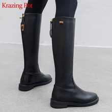 Long-Boot Krazing-Pot Thigh Low-Heel Riding Genuine-Leather L18 Metal-Decoration Keep-Warm