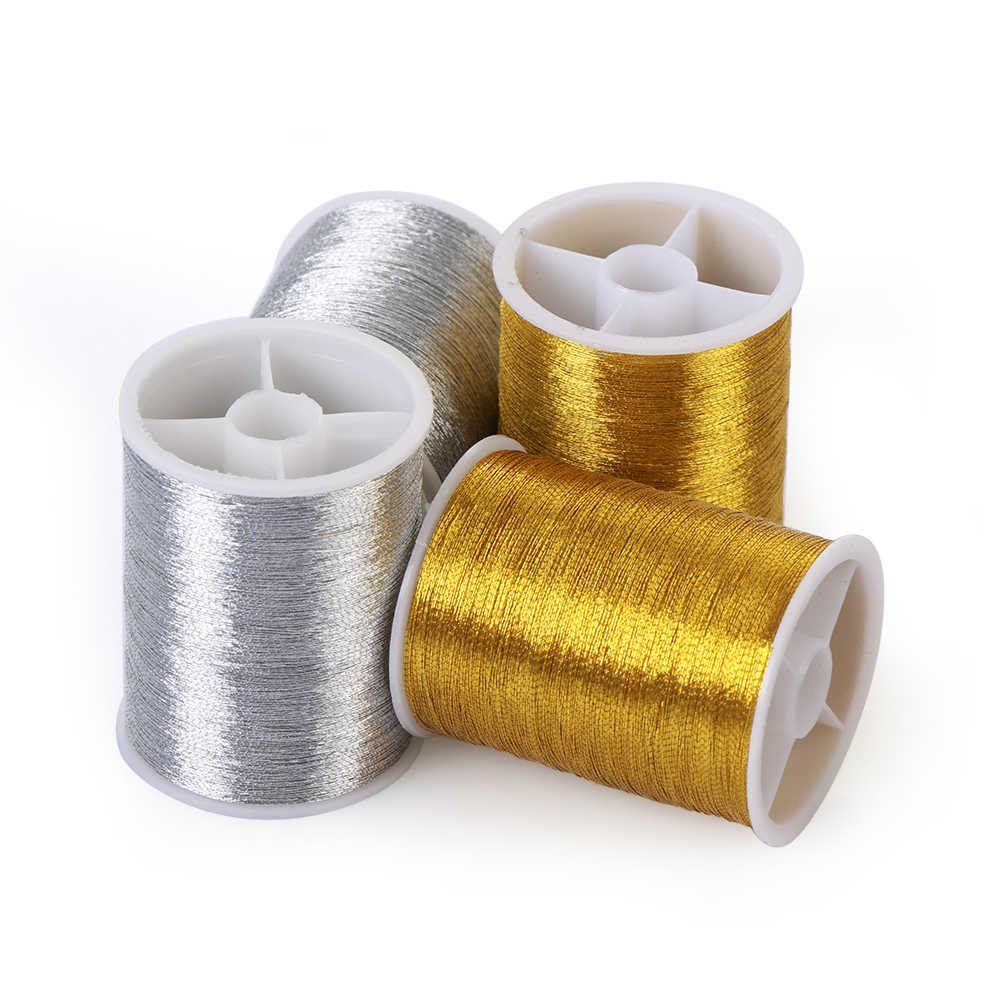 1Roll 100m Handmade Gold/Silver Color Copper Wire Embroidery Thread Cross Stitch Home Sewing Machine Accessory Spool DIY Crafts