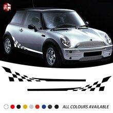 2 шт. гоночная решетка Стайлинг двери боковые полосы стикер графика Виниловая наклейка для тела для MINI Cooper R50 R52 R53 аксессуары