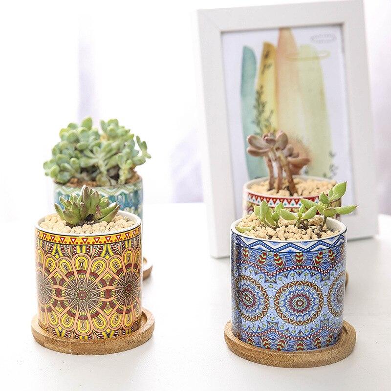 Цветок горшок прямой бочка цилиндрический мясистый керамический цветочный горшок скандинавский простой мандала стиль узор