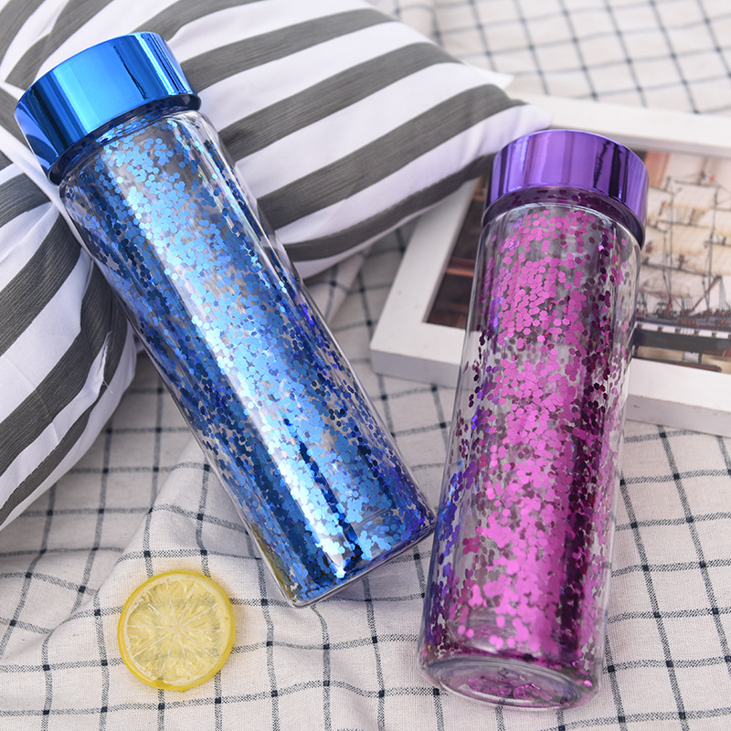 600ML Sequins Double-deck Water Bottle Shiny Portable Space Plastic Cup Travel camping hiking office kettle kids water bottle