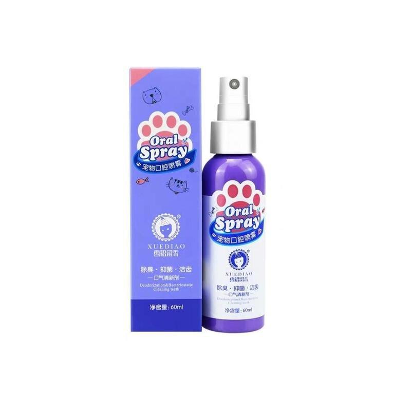 60ml Pet Breath Freshener Spray Dog Teeth Cleaner Fresh Breath Mouthwash Non-toxic Healthy Dental Care