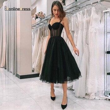 New Arrival Illusion Black Prom Dress Spaghetti Strap Polka Dot Tulle Tea Length Formal Party Gowns Short Vestido De Festa polka dot overlay tea length vintage dress