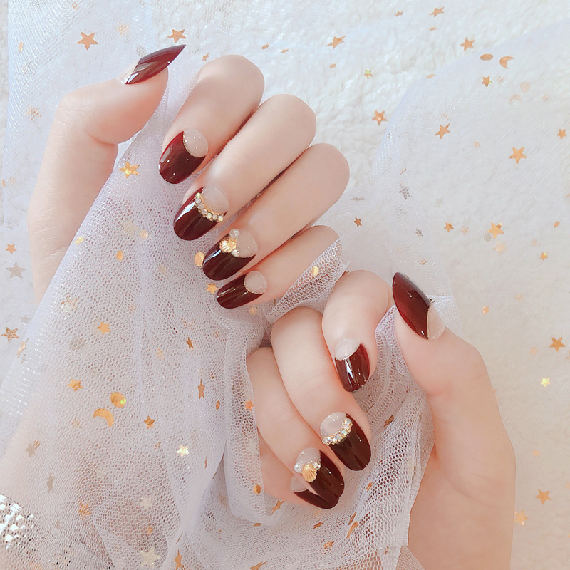 Nail Stickers Finished Product Nail Tip Removable With Mid-length French Free Disassembly Seemless Stick Completely Bride Fake N