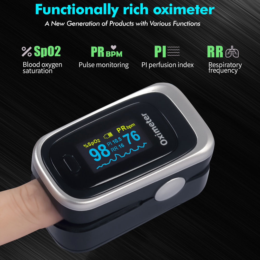 Finger Pulse Oximeter OLED Display Pulse Oximeter Blood Oxygen Saturation SpO2 Monitor Blood Pressure Meter Heart Rate Detector